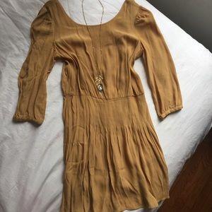 Free People Kimchi Blue Mustard Yellow Crepe Dress